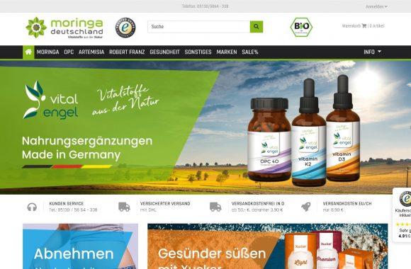 Bespiel Webseite und Onlineshop für Nahrungsergänzungen